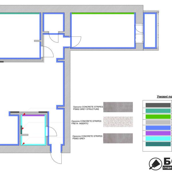 Дизайн интерьера квартиры ул. Юрия Паращука, чертеж покрытие