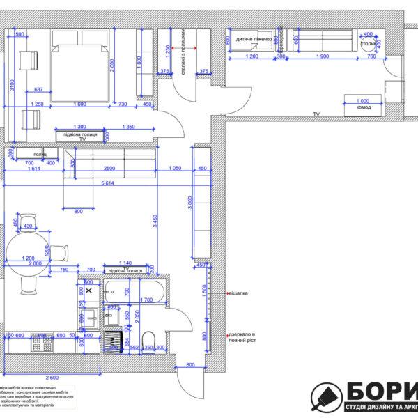 Дизайн интерьера квартиры ул. Юрия Паращука, чертеж планировка
