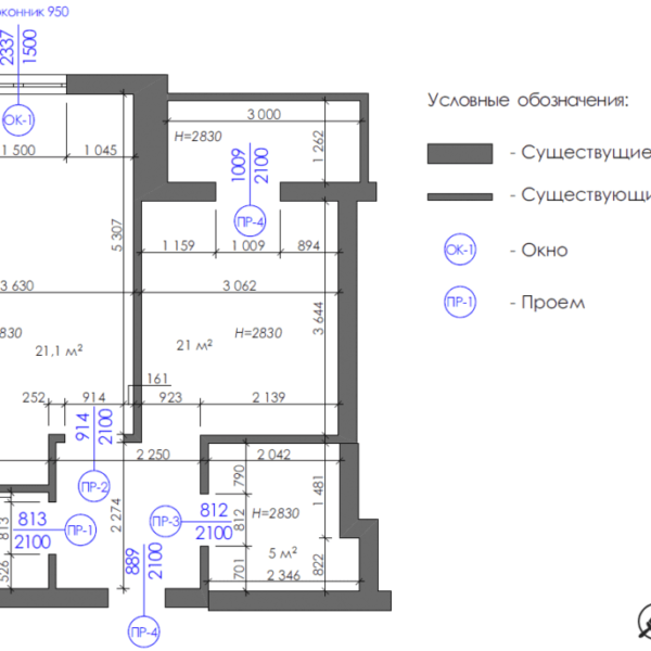 Дизайн-проект однокімнатної квартири вул. Єлизаветинська, креслення вікна отвори