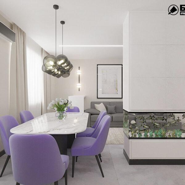 """Дизайн-проект квартири ЖК """"Журавлі"""", кухня"""