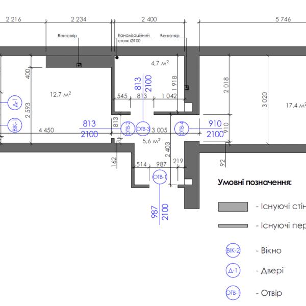 Дизайн интерьера однокомнатной квартиры ул. 12 апреля, чертеж окна двери