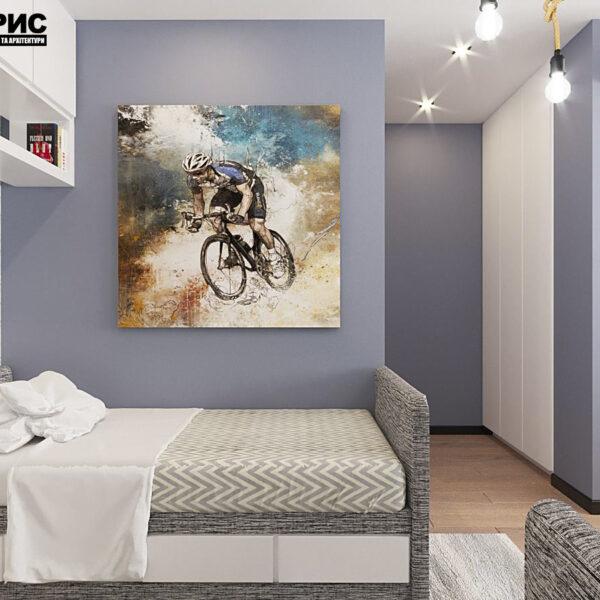"""Дизайн-проект квартири ЖК """"Журавлі"""", дитяча кімната вид справа"""