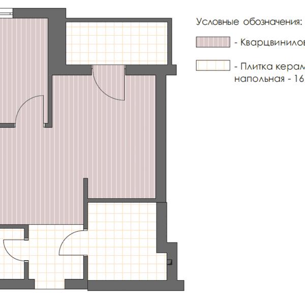 Дизайн-проект однокомнатной квартиры ул. Елизаветинская, чертеж плитка