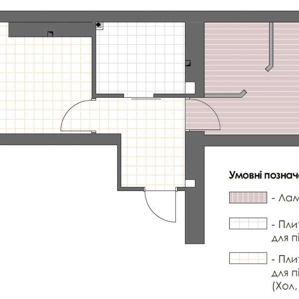 Дизайн интерьера однокомнатной квартиры ул. 12 апреля, чертеж покрытие пола