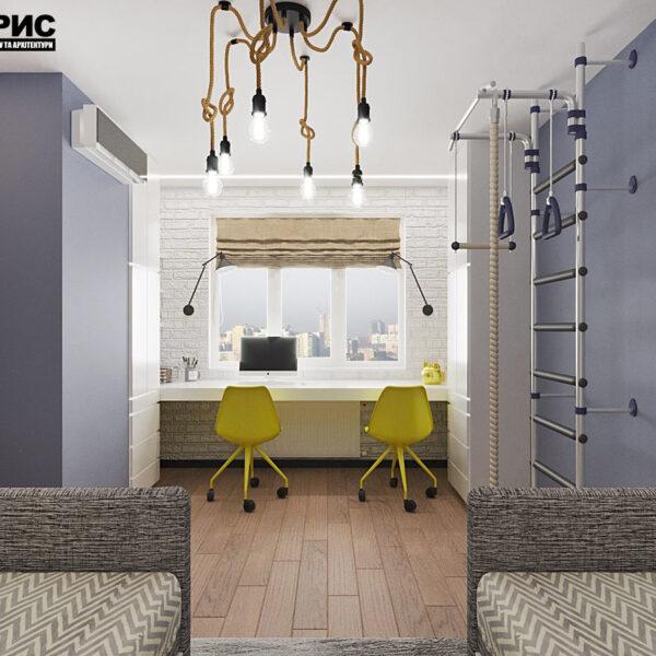 """Дизайн-проект квартири ЖК """"Журавлі"""", дитяча кімната вид ззаду"""