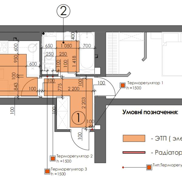 Дизайн интерьера однокомнатной квартиры ул. 12 апреля, чертеж пол батареи