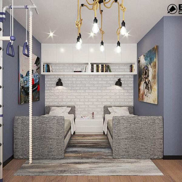 """Дизайн-проект квартири ЖК """"Журавлі"""", дитяча кімната вид спереду"""