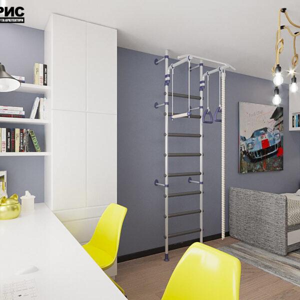 """Дизайн-проект квартири ЖК """"Журавлі"""", дитяча кімната вид збоку"""