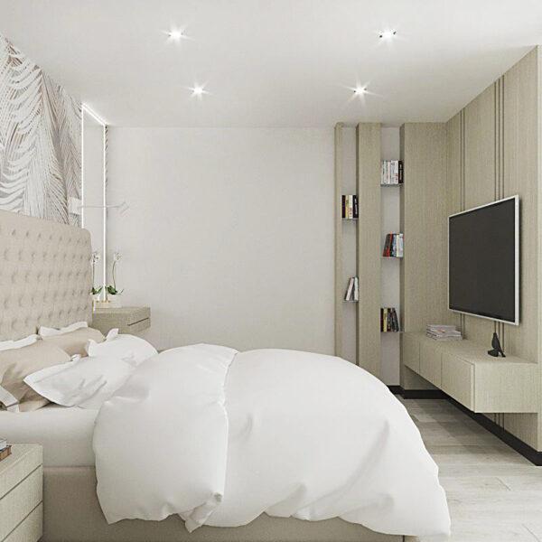 """Дизайн-проект квартиры ЖК """"Журавли"""", спальня вид справа"""