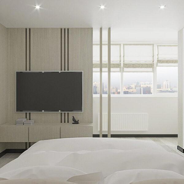 """Дизайн-проект квартири ЖК """"Журавлі"""", спальня вид ззаду"""