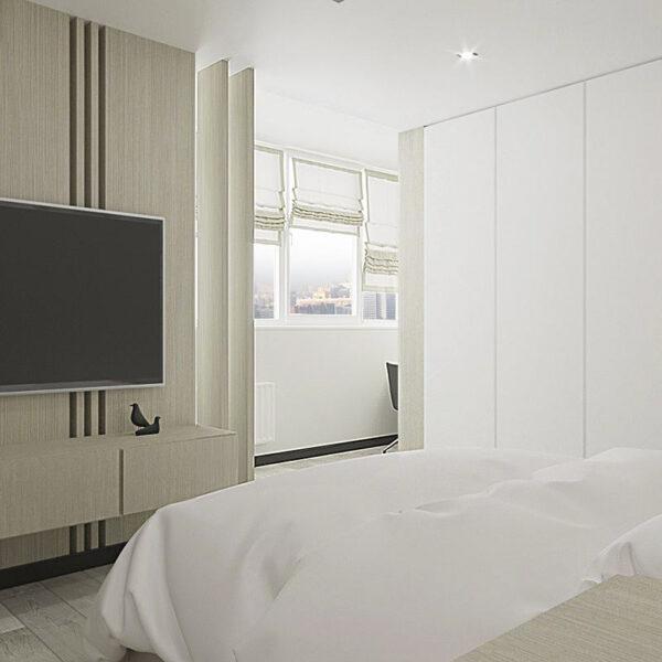 """Дизайн-проект квартири ЖК """"Журавлі"""", спальня вид збоку"""