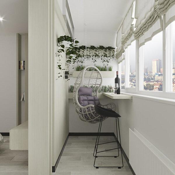 """Дизайн-проект квартири ЖК """"Журавлі"""", лоджія вид зліва"""