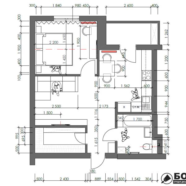 Дизайн-проект однокімнатної квартири вул. Єлизаветинська, креслення планування