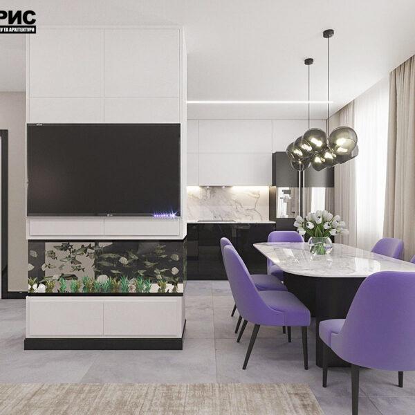 """Дизайн-проект квартири ЖК """"Журавлі"""", кухня вид ззаду"""