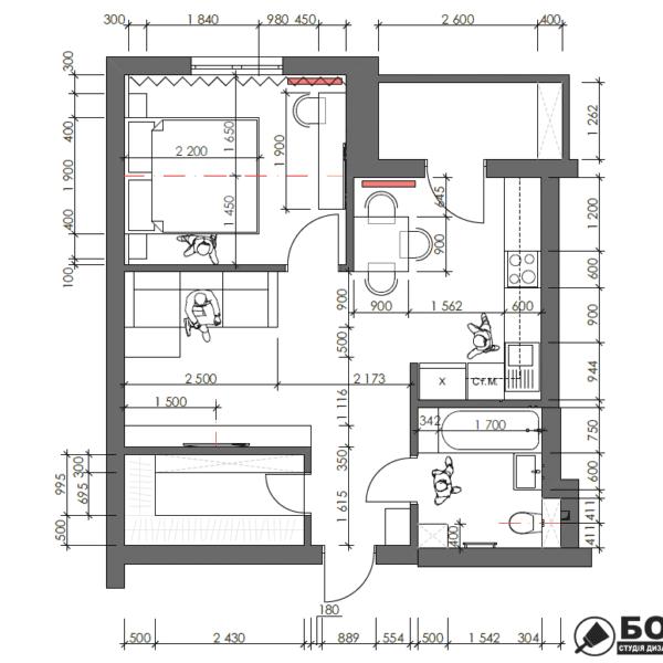 Дизайн-проект однокомнатной квартиры ул. Елизаветинская, чертеж планировка