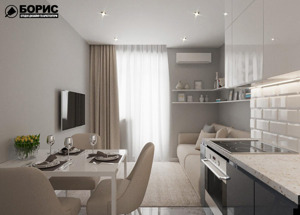 Дизайн интерьера однокомнатной квартиры ул. 12 апреля, кухня вид слева
