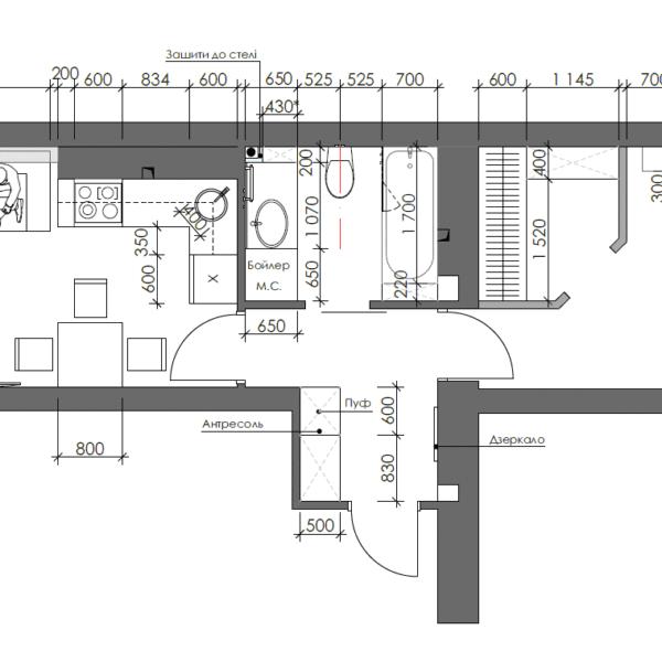Дизайн интерьера однокомнатной квартиры ул. 12 апреля, чертеж планировка