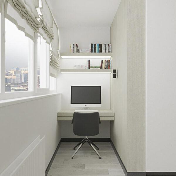 """Дизайн-проект квартири ЖК """"Журавлі"""", лоджія вид справа"""