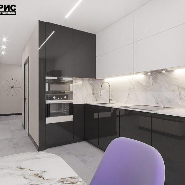 """Дизайн-проект квартири ЖК """"Журавлі"""", кухня вид спереду"""