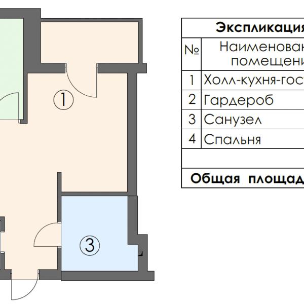 Дизайн-проект однокомнатной квартиры ул. Елизаветинская. чертеж площадь