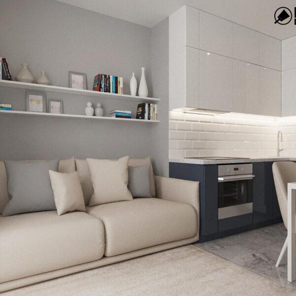 Дизайн интерьера однокомнатной квартиры ул. 12 апреля, кухня