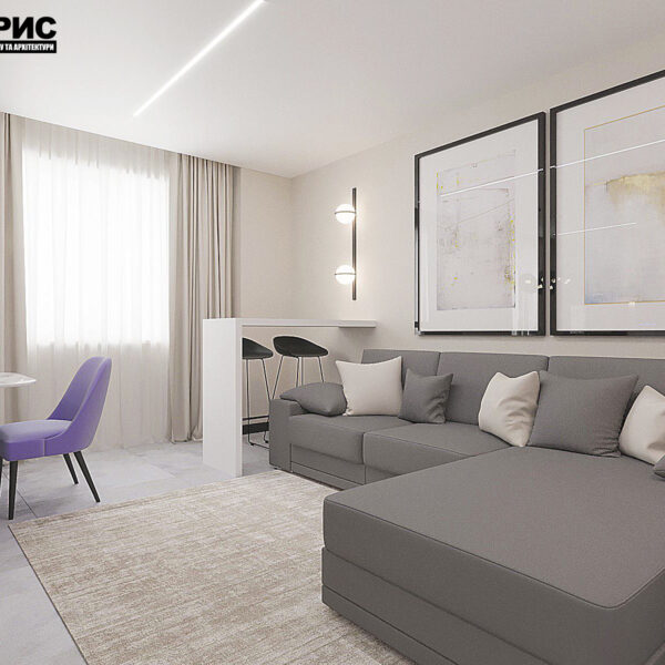 """Дизайн-проект квартири ЖК """"Журавлі"""", вітальня вид зліва"""