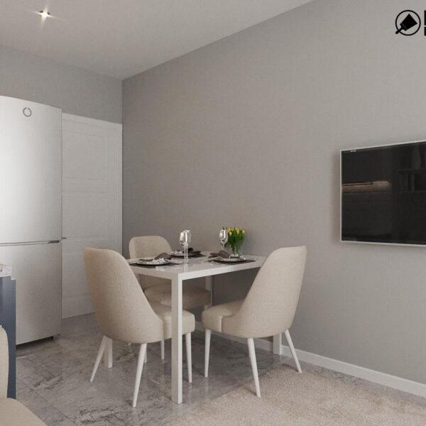 Дизайн интерьера однокомнатной квартиры ул. 12 апреля, кухня обеденный стол