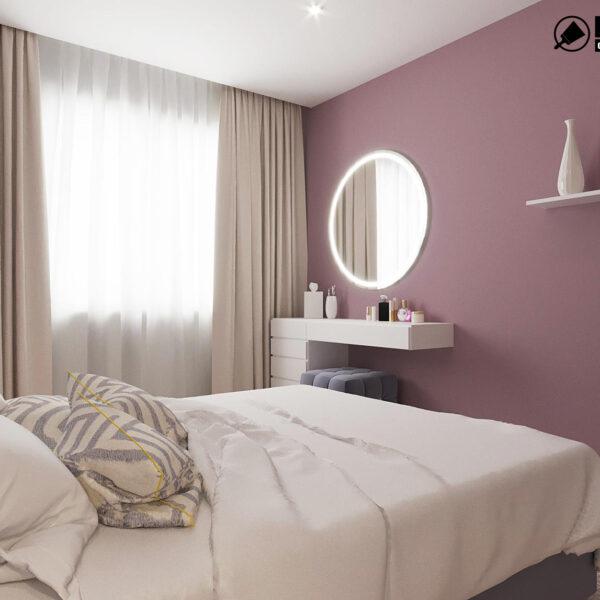 Дизайн интерьера однокомнатной квартиры ул. 12 апреля, спальня вид справа