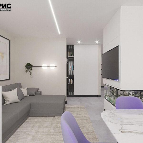 """Дизайн-проект квартири ЖК """"Журавлі"""", вітальня вид збоку"""