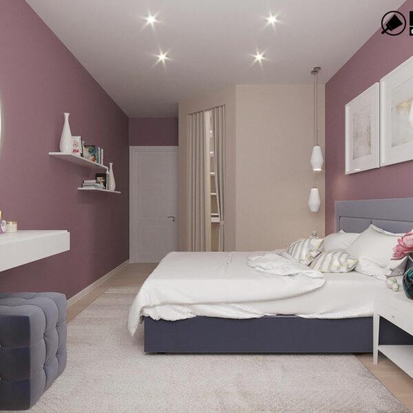 Дизайн интерьера однокомнатной квартиры ул. 12 апреля, спальня вид слева