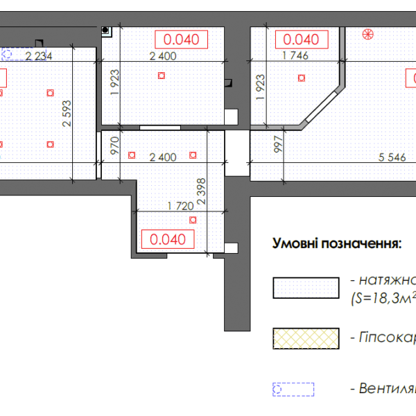 Дизайн интерьера однокомнатной квартиры ул. 12 апреля. чертеж покрытие стены потолок