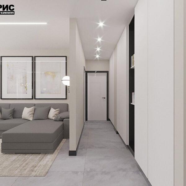 """Дизайн-проект квартири ЖК """"Журавлі"""", коридор вид з вітальні"""