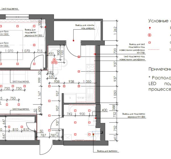 Дизайн-проект однокімнатної квартири вул. Єлизаветинська, креслення покриття стелі