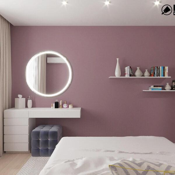Дизайн интерьера однокомнатной квартиры ул. 12 апреля, спальня вид сзади