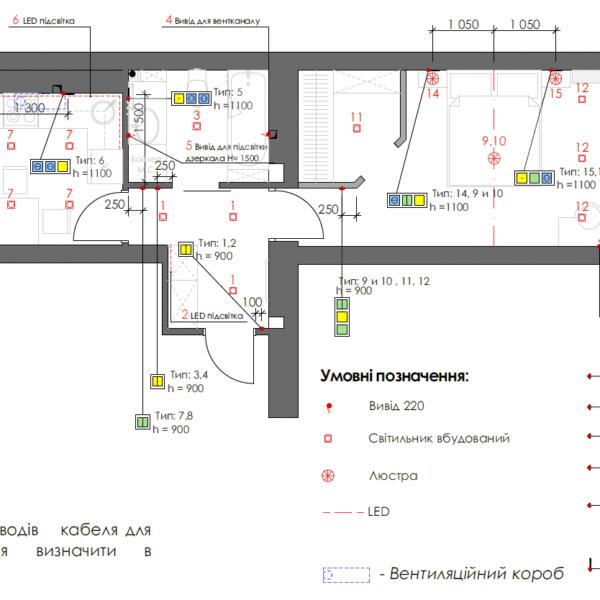 Дизайн интерьера однокомнатной квартиры ул. 12 апреля, чертеж розетки электричество