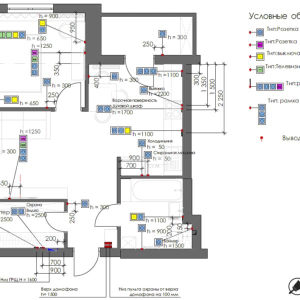 Дизайн-проект однокімнатної квартири вул. Єлизаветинська, креслення розетки