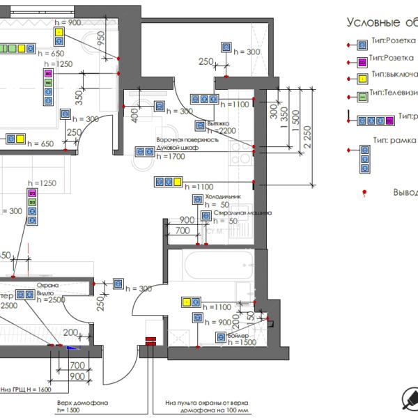 Дизайн-проект однокомнатной квартиры ул. Елизаветинская, чертеж розетки