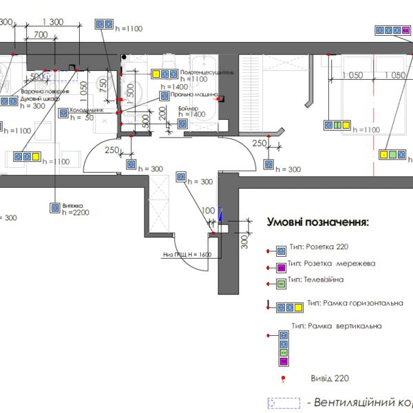 Дизайн интерьера однокомнатной квартиры ул. 12 апреля, чертеж розетки