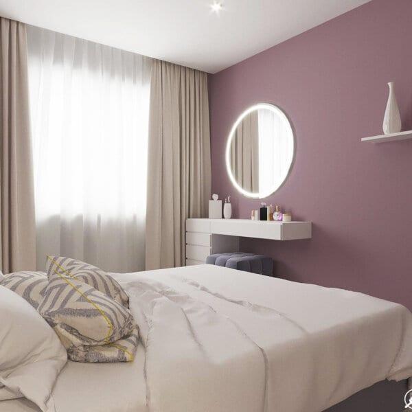 Дизайн интерьера однокомнатной квартиры ул. 12 апреля. спальня вид сбоку