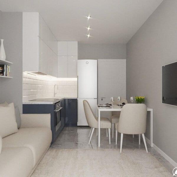 Дизайн интерьера однокомнатной квартиры ул. 12 апреля, кухня вид справа