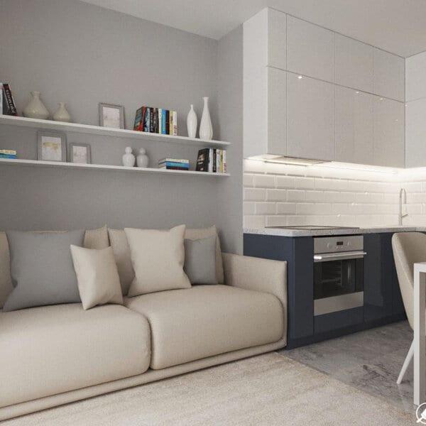 Дизайн интерьера однокомнатной квартиры ул. 12 апреля, кухня вид спереди