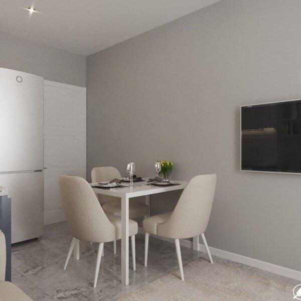 Дизайн интерьера однокомнатной квартиры ул. 12 апреля, кухня вид сбоку
