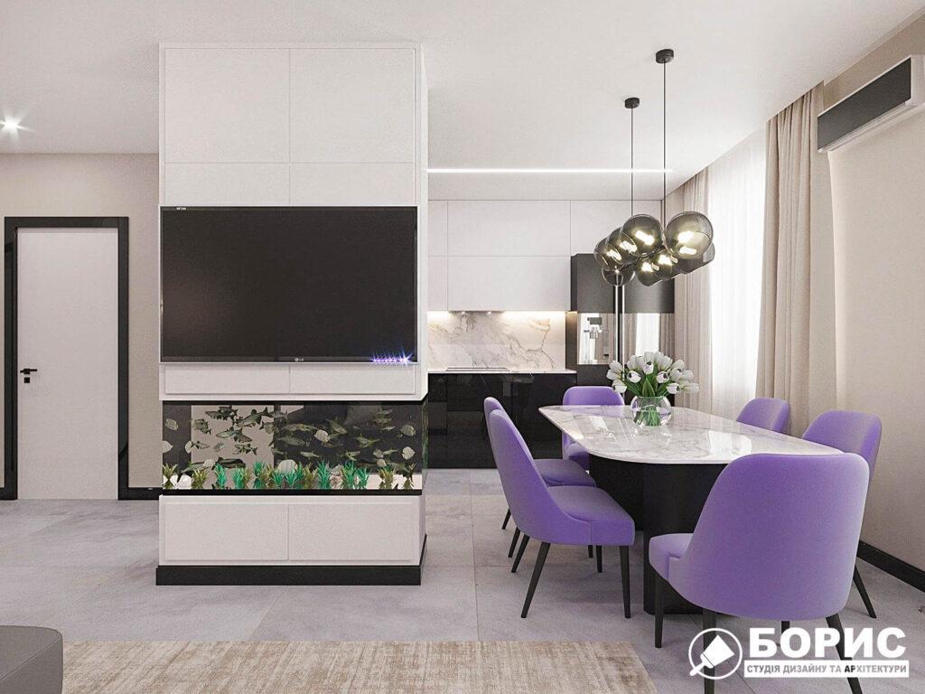 Дизайн-проект квартиры ЖК «Журавли», кухня вид сзади фото №2