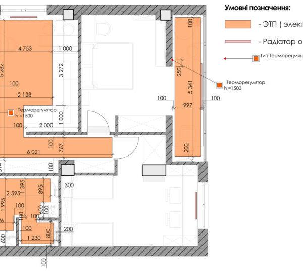 Дизайн-проект квартиры ЖК «Журавли», креслення підлога радіатори