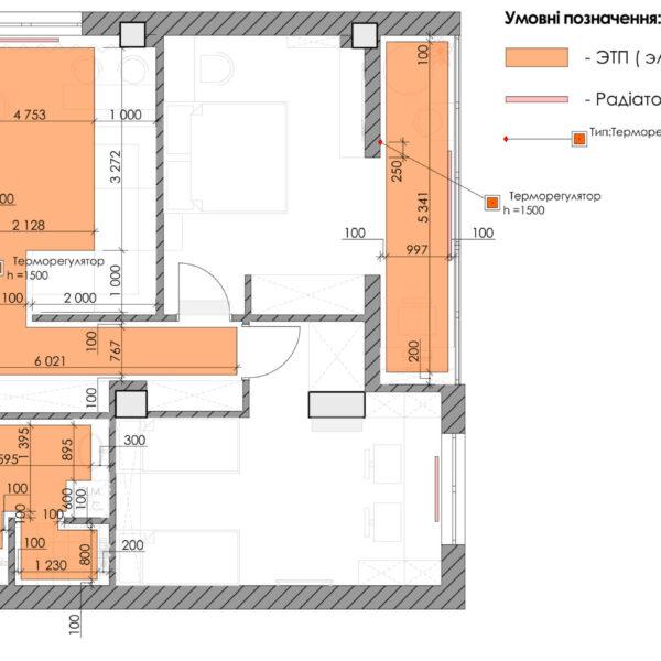 Дизайн-проект квартиры ЖК «Журавли», чертеж пол радиаторы