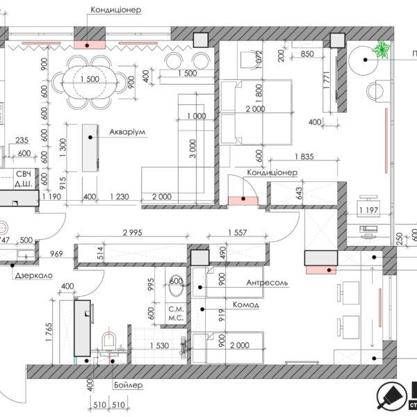 Дизайн-проект квартиры ЖК «Журавли», чертеж планировка