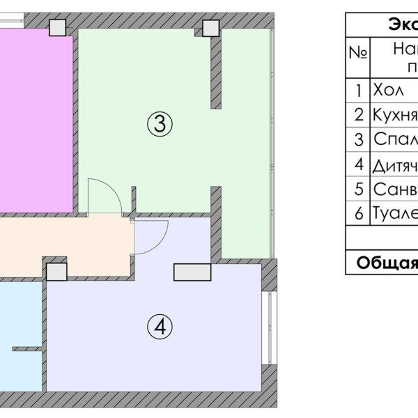 Дизайн-проект квартиры ЖК «Журавли», чертеж экспликация помещений