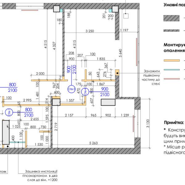 Дизайн-проект квартиры ЖК «Журавли», чертеж монтаж стен