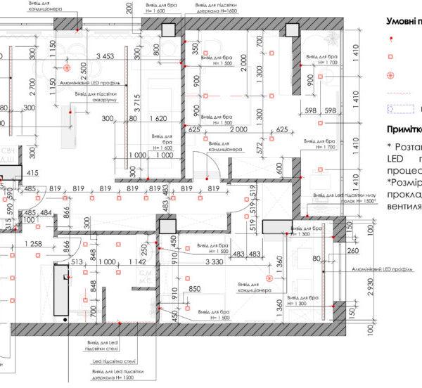 Дизайн-проект квартиры ЖК «Журавли», креслення освіщення