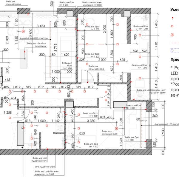 Дизайн-проект квартиры ЖК «Журавли», чертеж освещение